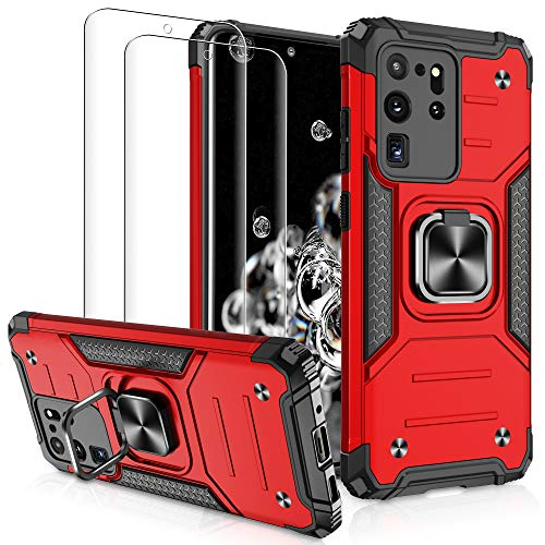Compatible with Samsung Galaxy S20 Ultra Case 6.9 Inch with [2 Pack] 3D PET Screen Protector, Jshru [Military-Grade] Armor Phone Case with Magnetic Ring Kickstand for Samsung S20 Ultra 5G, Red