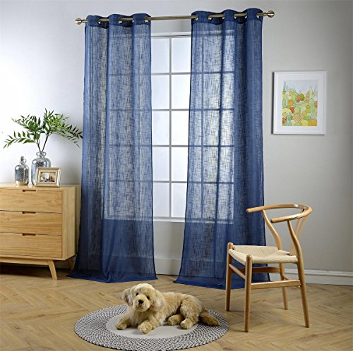 "MIUCO Semi Sheer Curtains Poly Linen Textured Solid Grommet Curtains 84 Inches Long for French Doors 2 Panels (2 x 37 Wide x 84"" Long) Navy Blue"