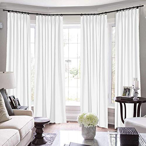 TWOPAGES Pinch Pleated Loft Curtains, 144 Inch Long for Loft Natural Linen Curtains for Living Room/Bedroom Window Drape, 7084-0 Paper White, 1 Panel 58Wx144L