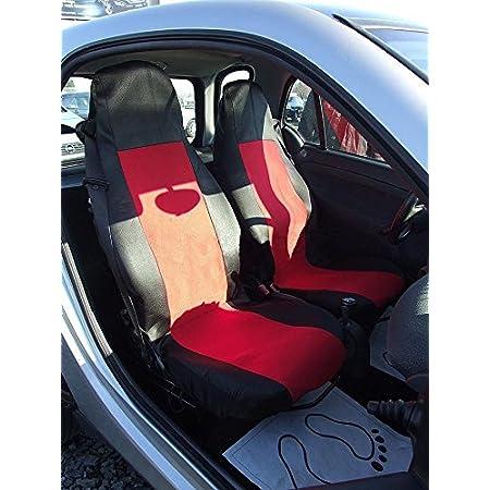 1 1 Maß SitzbezÜge Schwarz Rot Autositzbezug Vordersitz Autositzschoner SchonbezÜge Oem Stoff Top QualitÄt Mit Öffnungen FÜr Airbag Waschbar Auto