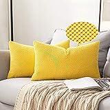 Miulee juego de 2 soft fundas granulado fundas para cojines protectores solid decorativa cuadrado juego fundas de almohada de lanzamiento poliéster y mezcla de poliéster 30x50cm 2 piezas limón