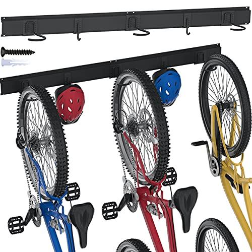TORACK Bike Rack Garage Bike Storage, 3 Bike Racks & 2 Hooks for Wall Mount Garage Organizer, Bike For Garage Wall, Vertical Cycling Hanger for Home Space Saving, up to 300lbs