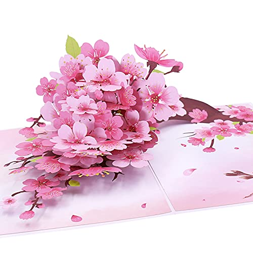Oritouchpop Cherry Blossom Pop Up Card, Handmade 3D Greeting Card, Mothers Day Card for Her Women...