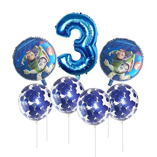 XIAOYAN Globos 7 unids Juguete Buzz Lightyear Globos Numero Azul Rosa Plata Papel de Ballon Historia Feliz cumpleaños Fiesta Ballon Dibujos Animados niños Suministros de Juguete ( Color : Deep Blue )