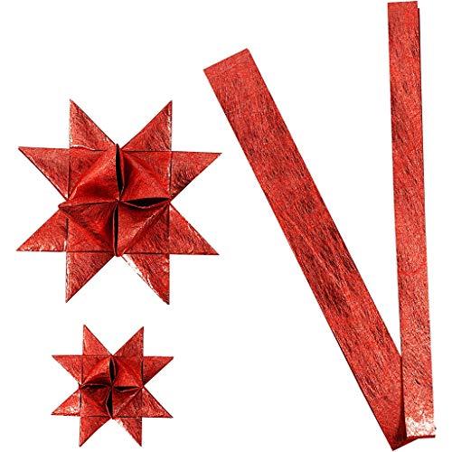 Papierstreifen für Fröbelsterne, B 15+25 mm, D: 6,5+11,5 cm, Rot, Seide, 32Streifen, L 44+78 cm