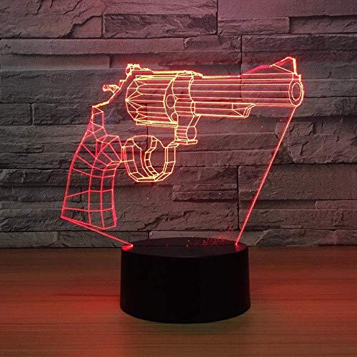 Illusionslampe New Revolver Gun 3D Lights 7 Farben LED Nachtlicht, Kinder Touch LED USB Tischlampe Baby Sleep Nachtlicht Gondeln