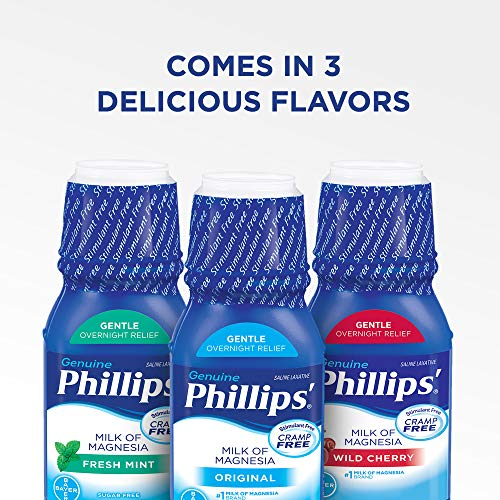 Phillips' Milk of Magnesia Liquid Laxative, 12 oz, Cramp Free & Gentle Overnight Relief Of Occasional Constipation, #1 Milk of Magnesia Brand