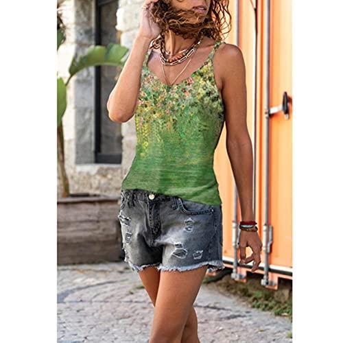 XMYNB Camiseta de Tirantes Mujer Verano Sin Mangas Impresión Suspender Camiseta Suelta Casual Chaleco Flor Lady Tank Top Elegante Fuera del Hombro Halter Blusa-Green,S