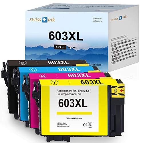 Swiss Ink kompatibel zu Epson 603XL 603 XL Druckerpatronen Kompatibel mit Workforce WF-2830 WF-2850 WF-2810 WF-2835 Expression Home XP-3105 XP-4100 XP-3100 XP-2100 XP-2105(Schwarz/Cyan/Magenta/Gelb)