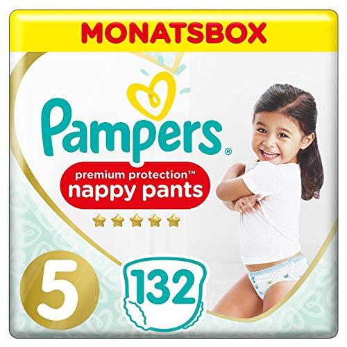 Pampers Premium Protection Pants, Gr.5, 12-17kg, Monatsbox (1 x 132 Höschenwindeln), Federweiche Höschenwindeln Für Einfaches Anziehen
