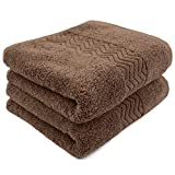 Cleanbear Bathroom Hand Towels, 100% Cotton Face Towels, 13 x 28 Inches (Brown)