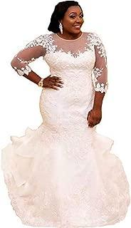 Women's Plus Size Mermaid Wedding Dress for Bride Elegant Lace Applique Beading Bridal Gowns