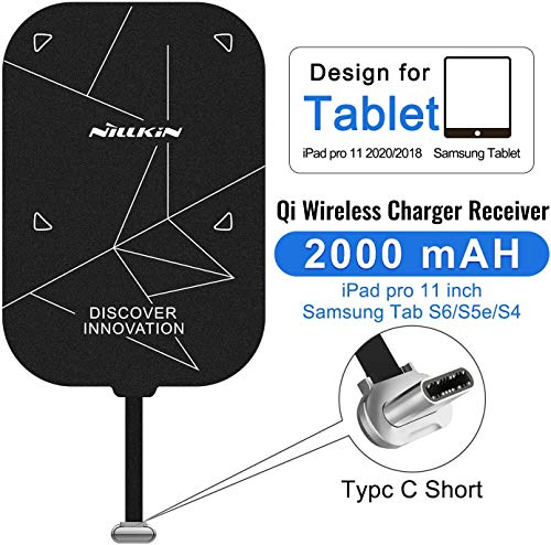 Nillkin Fast 2000mAh Wireless Charging Receiver Magic Tag Qi Wireless Charger Receiver Pad Patch Module Chip Compatible with iPad Pro 11 2018/2020,Huawei M6,Samsung TAB S3,S4,S5e,S6,Xiaomi Mi4 Plus