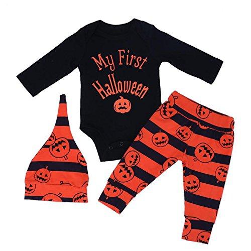 Borlai Traje de Halloween para Bebé Niña Niño Monos + Pantalón + Sombrero Ropa de Manga Larga, 0-3 Meses