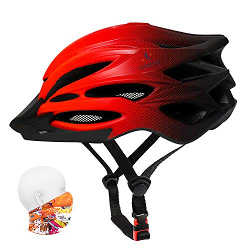 Premium Adult Bike Helmet with Visor,Headwear,Insect Net,Cycle Bicycle Helmet 12 Colors Lightweight Youth Mens Women Ladies for Cycling Roller Scooter Hoverboard BMX Skateboard Riding(Gradient Red)