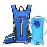 U/N Mochila de hidratación de 2 litros, Mochila Ligera para Trail Running, Mochila de Agua con Sistema de hidratación para Hombres y Mujeres con Funda para Casco (Azul)
