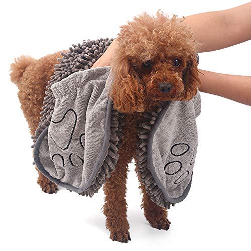 AKlamater Toalla absorbente para mascotas, toalla de baño de secado rápido para mascotas con bolsillo, adecuada para uso en interiores y exteriores (gris)