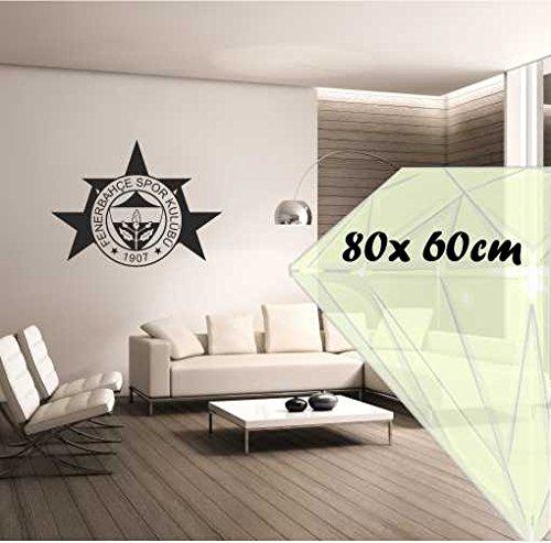 Saphir Design Wandtattoo Fenerbahce 3Sterne M082(Schwarz Matt, 80x60cm)