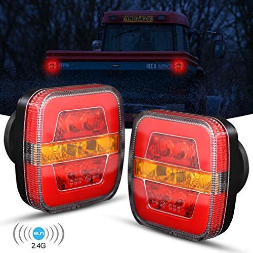 Mesllin Wireless LED Luz trasera Base magnética LED recargable Señal de giro Luz de freno para remolque, camión, camión o caravana