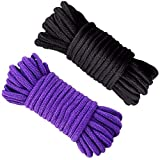 Uniyou Soft Cotton Rope 32 Feet / 10 Length 1/3 Inch Thick Durable Twisted Rope Cord for Climbing Pack Braid Home Decor(2 Pack, Purple Black)