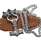 Cabeza De Lobo Colgante Nórdico Vikingo Mjolnir Collar Thor Martillo Valknut Acero Inoxidable 316L Joyas De Animales Originales,70cm