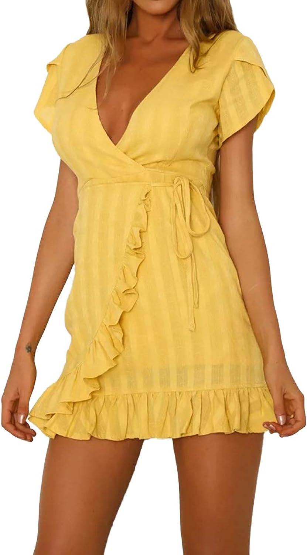 Huaxiafan Womens V Neck Ruffle Wrap Tie Front Short Sleeve Mini Party Dress