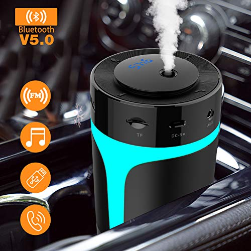 [Upgraded] USB Car Humidifier with Bluetooth FM Transmitter- Hands Free Calling,Enjoy Music,7 Colors LED Light,300ml Ultrasonic Cool Mist Humidifier Diffuser for Car,Baby, Desk,Bedroom,Travel,Office