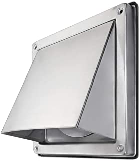 calimaero HWG 4 Inch Cowled Square Exhaust Wall Vent with Cushioned Non Return Flap