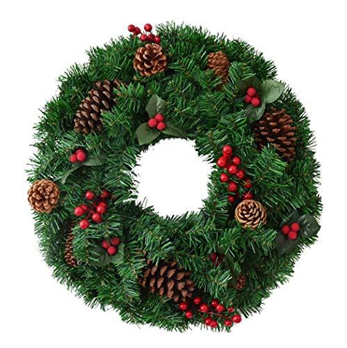 Yjmgrowing kerstkrans decoraties kunstkerstbloemen decoratieve slinger met kerstbessen-dennen-kegel-versiering voor deur raam decoratie deur hangen display
