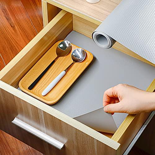 Homease Schubladenmatte Küche 45x500 cm rutschfest Wasserfest Schrankpapier für Schubladen Regale Schränke Kühlschränke, Antirutschmatte Schubladen Große Formate Zuschneidbar, Grau