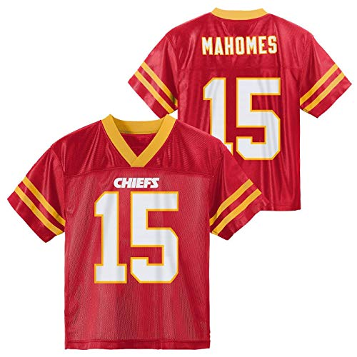 Outerstuff NFL Toddler Team Color Name and Number Home Player Jersey (Patrick Mahomes Kansas City Chiefs Red Home, 4T)
