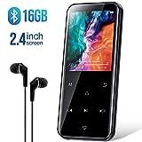 MP3 Player, 16GB Bluetooth MP3 Player mit 2.4 Zoll Bildschirm, HiFi Lossless Musik Player mit Kabelgebundene Kopfhörer, FM-Radio, Sprachaufzeichnung, Schrittzähler, Unterstützt bis 128GB TF Karte