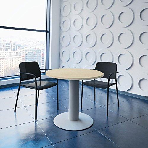 Optima runder Besprechungstisch Ø 80 cm Ahorn Silbernes Gestell Tisch Esstisch Küchentisch