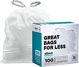 Plasticplace Custom Fit Trash Bags │ Simplehuman Code R Compatible │ 2.6 Gallon / 10 Liter White Drawstring ...