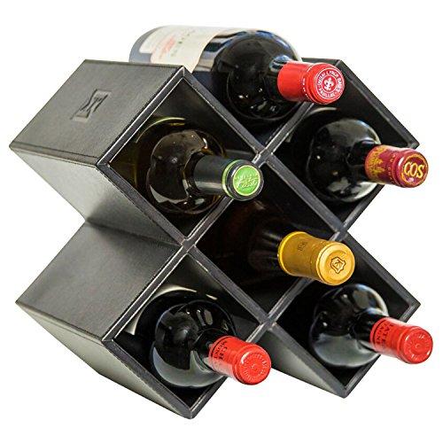 Kaydian Krafts Countertop Wine Rack - 6 Bottle Decorative Tabletop Wine Bottle Holder - No Assembly Required - Jet Black