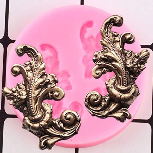 GEYKY Barock Relief Kuchen Grenze Silikonformen Blume Cupcake Topper Kuchen Dekorationswerkzeuge Candy Chocolate...