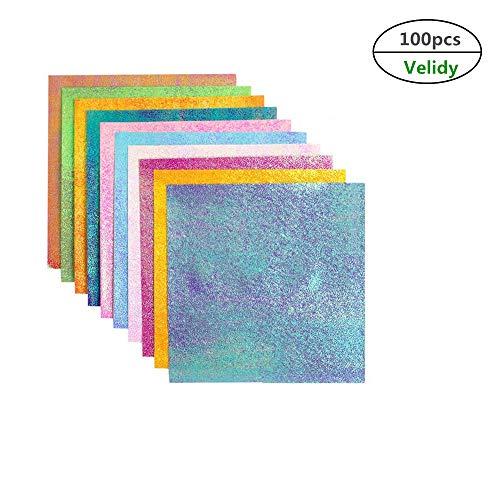 Velidy - Papel de cartulina con purpurina para manualidades, cartulina, papel brillante para álbumes de recortes, manualidades, tarjetas, 100 hojas, 15 x 15 cm