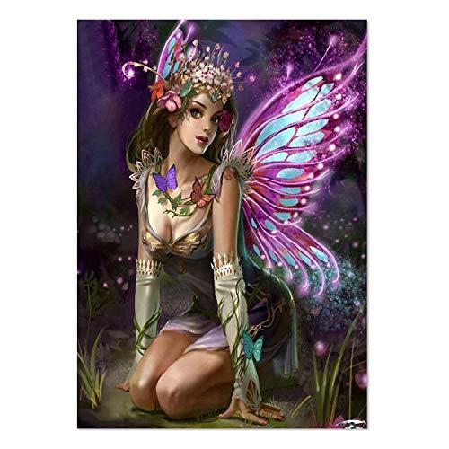 ParNarZar Kit de Pintura de Diamantes 5D Hada de Mariposa Taladro Completo Rhinestone Bordado Mosaico Kits de Arte para decoración de Pared Night Elf Forest 40 X 60cm