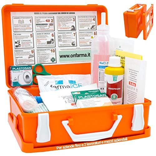 FARMA1 Cassetta pronto soccorso primo soccorso conforme DM 388 allegato 2 per aziende fino a 2 lavoratori e mezzi aziendali