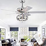 52 inches Chandelier Ceiling Fan Reversible Ceiling Fan with 3 Lights Fixtures Elegant Fan and Lights Fandelier Ceiling Fan Light Remote Control Chandelier Lights Indoor Fan Living Room Bedroom Dining