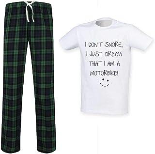 Mens I Don't Snore I Just Dream I'm A Motorbike Tartan Pyjama Set Fathers Day Birthday