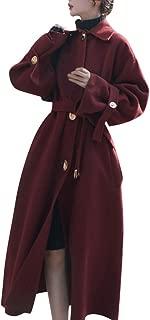 E-Scenery Women's Woolen Long Coat Thicken Pocket Button Cardigan Windbreaker Overcoat with Belt