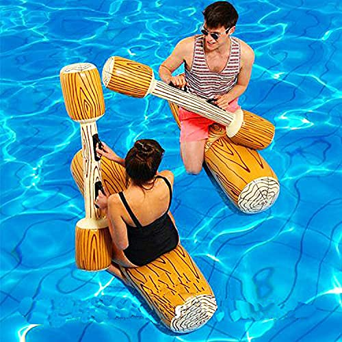 Faffooz Juego de Troncos Inflables de Batalla Flotante, Inflable Flotante Juguetes de Fila, Flotador Inflable Juguete Acuático, Deportes Acuáticos Juguetes para Piscina de Playa al Aire Libre