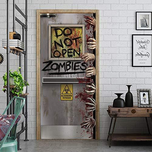 Türaufkleber Selbstklebende Tür Tapete 3D Halloween Zombie Fototapete Art Türfolie Poster Tapete Pvc Wasserdicht Abnehmbare Wandbilder Für Schlafzimmer Badezimmer 95X215Cm