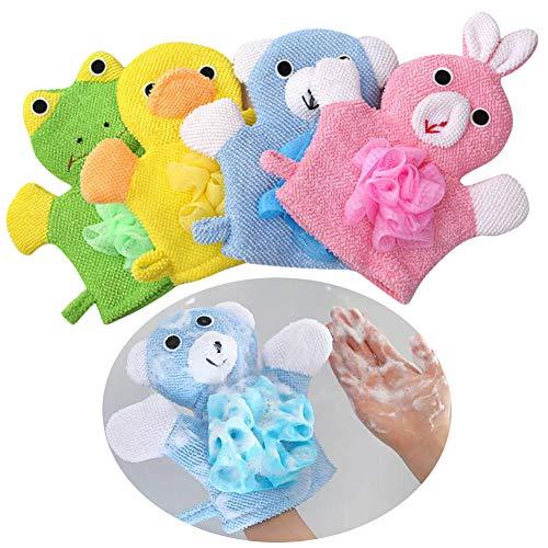 Waschhandschuh - YUESEN Tier Badehandschuh Waschlappen mit Tiermotiv für fröhlichen Badespaß, Kinderwaschlappen weich 4-er Set
