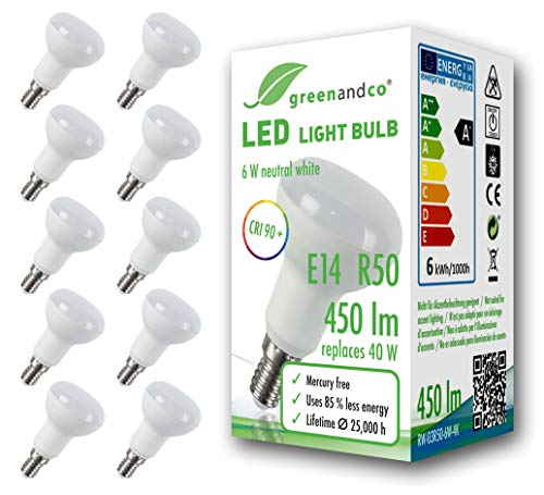 10x greenandco® CRI 90+ LED Lampe ersetzt 40 Watt R50 E14 matt, 6W 450 Lumen 4000K neutralweiß 160° 230V AC, flimmerfrei, nicht dimmbar, 2 Jahre Garantie