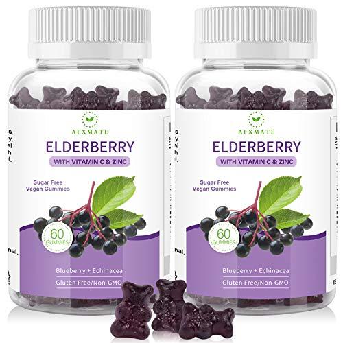 (2-Pack) Elderberry Gummies Sambucus Black Elderberry - for Adults Kids, with Zinc and Vitamin C, Sugar Free, 120 Gummies