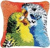 LSSB Kits de Gancho de Cierre, Bordado DIY Kit Animal Cojín Almohada Hacer Kits de Punto de Cruz Artes Artesanía para Adultos Principiantes Sofá Decoración, 17×17 Inch