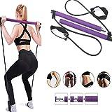 NASZE DZIECKO Kit de barra de pilates portátil con banda de resistencia, barra de ejercicio en casa, gimnasio, pilates, yoga con lazo para el pie para entrenamiento corporal total, morado