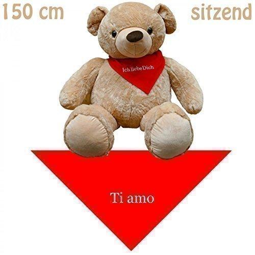 150 cm XXL animale peluche peluche gigante orsetto seduto con fazzoletto Ti amo